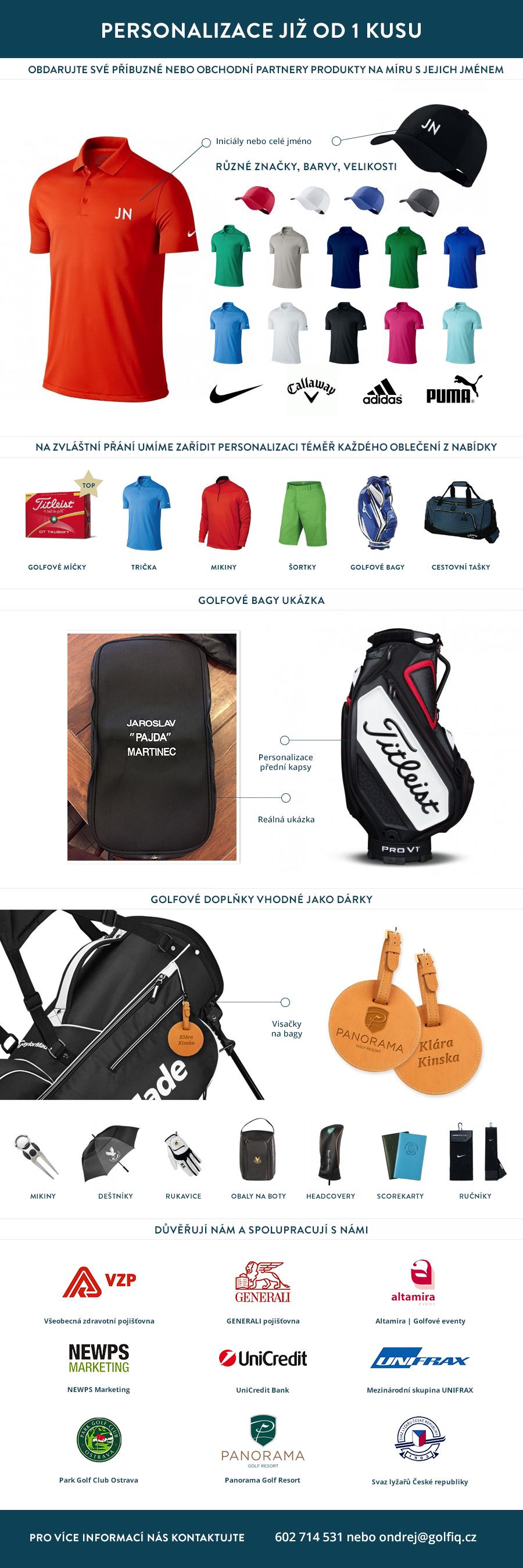 Personalizace golfových produktů od 1 kusu